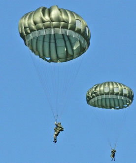 Military parachutes are round