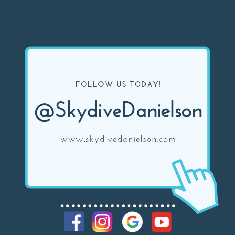 follow us on social media at skydive danielson
