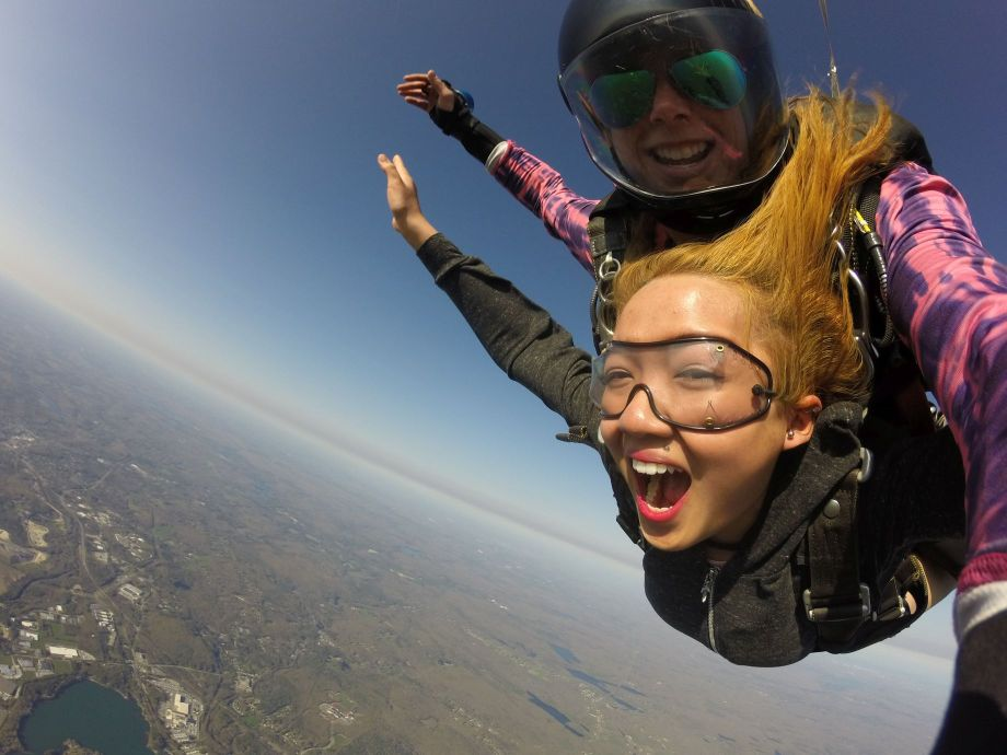 Female skydivers on a tandem jmp