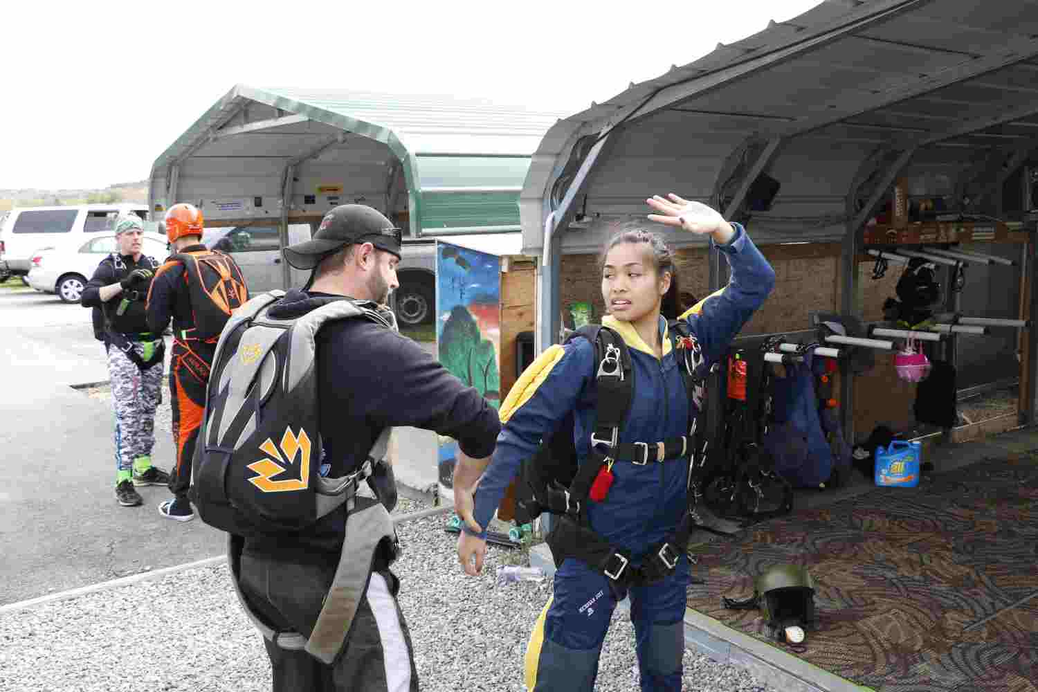 Learning to skydive and checking equipment